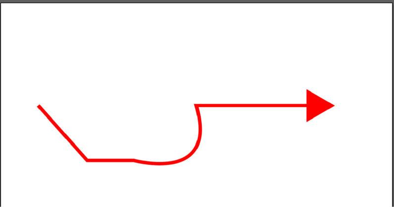 折れたり曲がったりする矢印を作成