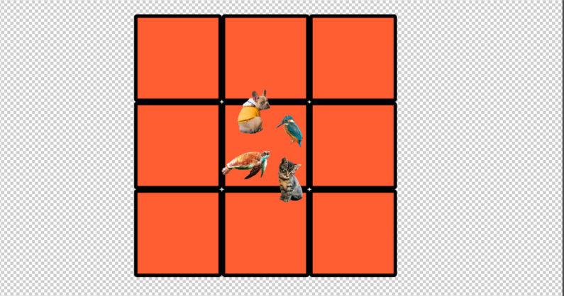 シェイプレイヤーで正方形を9個配置