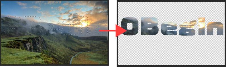 写真を文字の形で切り抜く