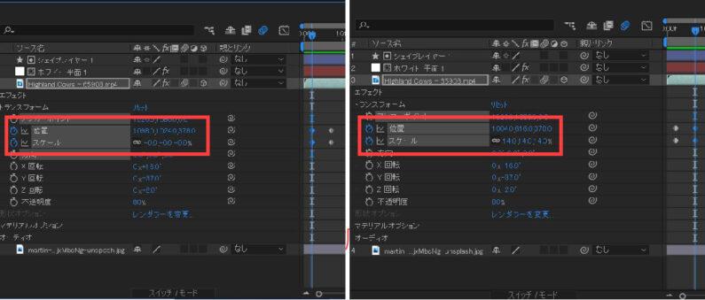 「位置」と「スケール」にアニメーションを追加